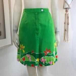 Vintage 1960s Size S Floral Skirt Shorts